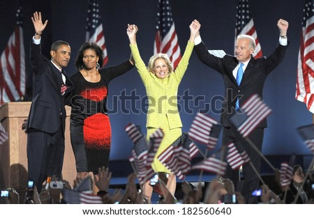 Senator Barack Obama, wife Michelle Obama, Jill Biden, Joe Biden at a public appearance for Barack Obama US Presidential Election Victory Speech and Celebration, Grant Park, Chicago, Nov04, 2008 - stock photo