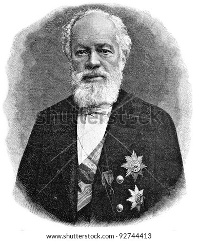 "Senator Nikolai Semenov. Engraving on steel by Shyubler. Published in magazine ""Niva"", publishing house A.F. Marx, St. Petersburg, Russia, 1893"