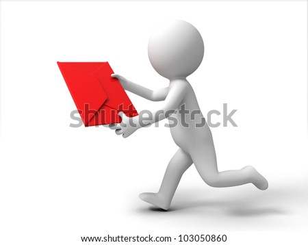 send a letter/A 3d people is running to send a letter - stock photo