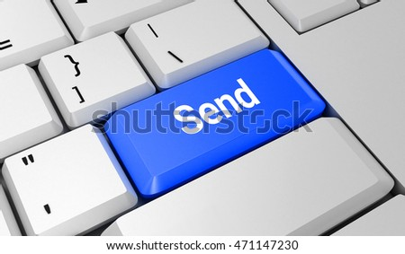 Send button. Keyboard. Blue key. Blue button. 3D rendering