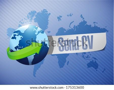 send cv message world map illustration  - stock photo