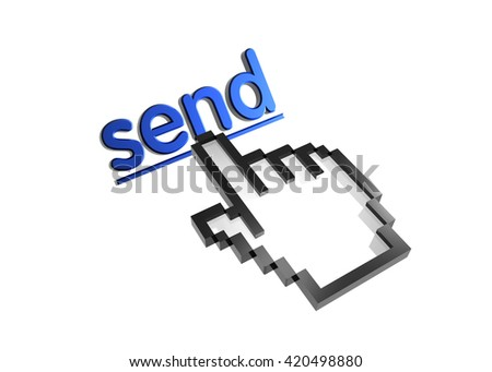send. 3d rendered inscription. Link and finger, pointer. Isolated on white - stock photo