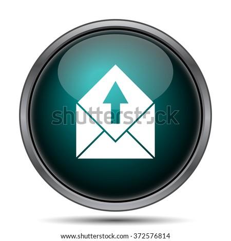 Send e-mail icon. Internet button on white background.  - stock photo