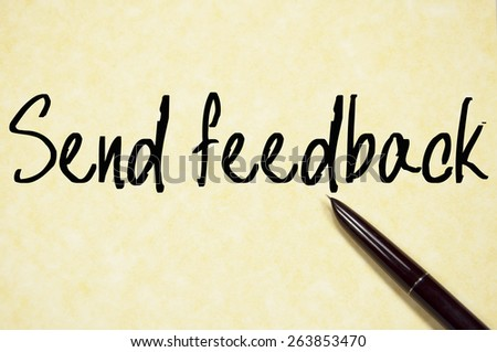 send feedback text write on paper  - stock photo