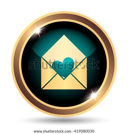 Send love icon. Internet button on white background. - stock photo