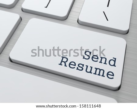 Send Resume. Button on Modern Computer Keyboard. Business Concept. 3D Render. - stock photo