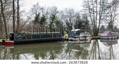 SEND, SURREY/UK - MARCH 25 : Narrow Boatson the River Wey Navigations Canal at Send in Surrey on March 25, 2015