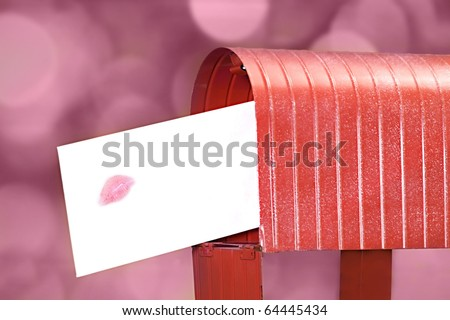 Sending a love letter with a big kiss on the envelope
