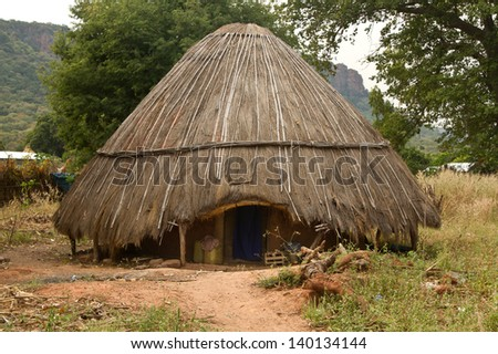 Senegal Dindefelo Hut Africa - stock photo