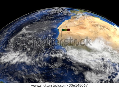Senegal flag on pole on earth globe illustration - Elements of this image furnished by NASA