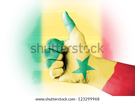 Senegal flag on thumb up gesture like icon with the flag and the map on the background
