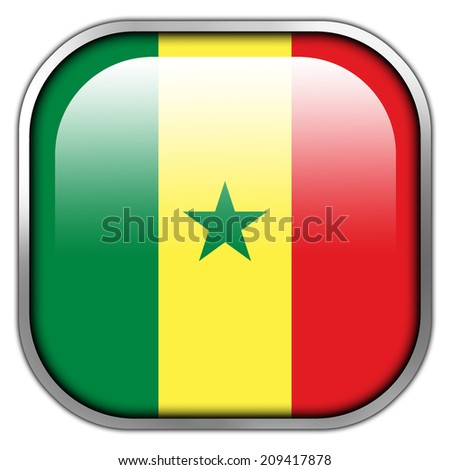 Senegal Flag square glossy button - stock photo