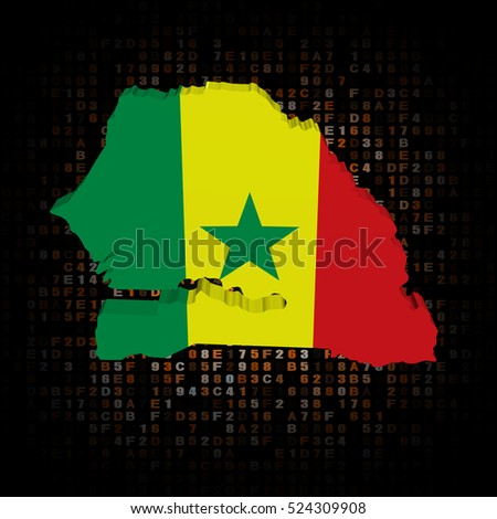 Senegal map flag on hex code 3d illustration