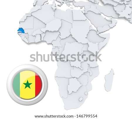 Senegal with national flag - stock photo