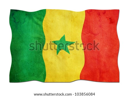 Senegalese Flag made of Paper - stock photo