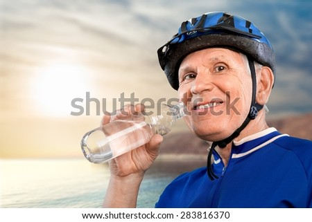 Senior Adult, Cycling, Old. - stock photo