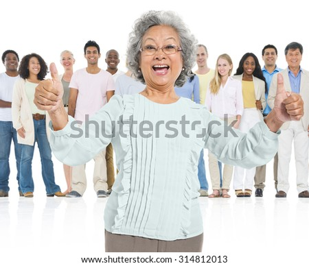 Senior Adult Feel Glad Standing Out Crowd Concept