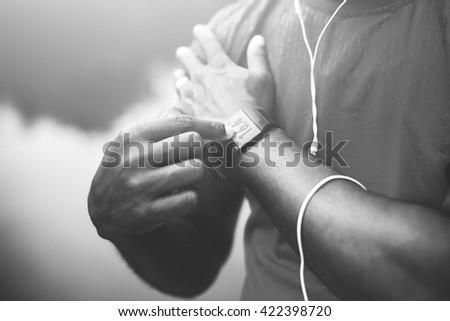Senior Adult Jogging Running Exercise Sport Activity Concept - stock photo