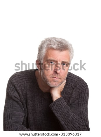 senior adult man lost  thought isolated on white background