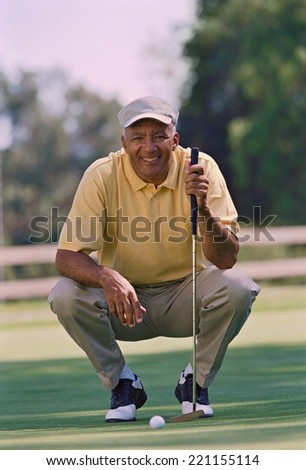 Senior African American man at golf course