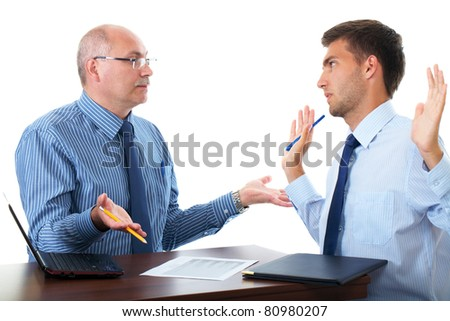 senior and junior businessman discuss something during their meeting, isolated on white