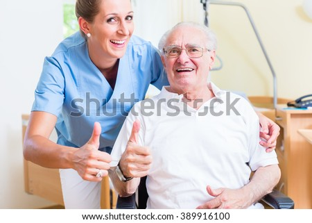 Senior and old age nurse recommending nursing home - stock photo