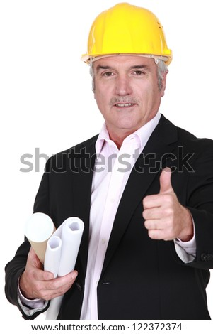 Senior architect giving his approval - stock photo