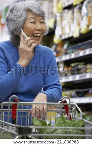 Senior Asian woman talking on cell phone - stock photo
