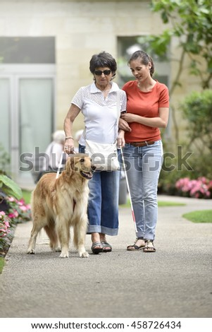 Senior blind woman walking with help of dog and carer - stock photo