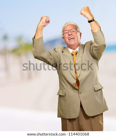 Senior Business Man Cheering, Outdoor - stock photo