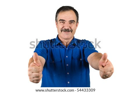 Senior business man giving thumbs up and smiling isolated on white background