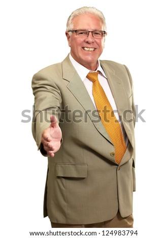 Senior Business Man Offering Handshake Isolated On White Background - stock photo