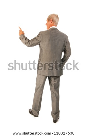Senior business man pointing to presentation isolated over white background - stock photo