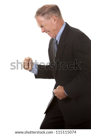 senior business man showing happy gesture on white - stock photo
