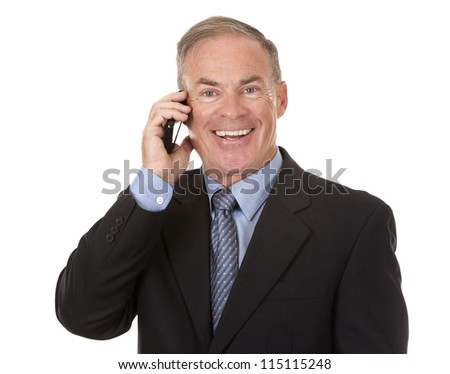 senior business man using cellphone on white background - stock photo