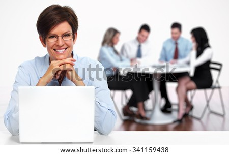 Senior business woman working with laptop computer. - stock photo