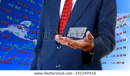 Senior businessman carry email from stock exchange , Stock exchange news concept - stock photo