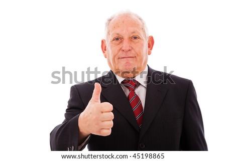 senior businessman gesturing OK (isolated on white) - stock photo