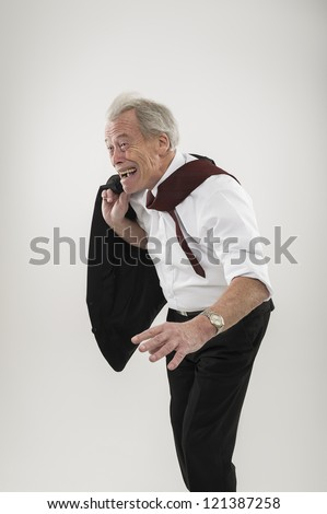 Business Man Leaning Over Something Imaginary Royalty Free ... |For Man Woman Leaning Forward