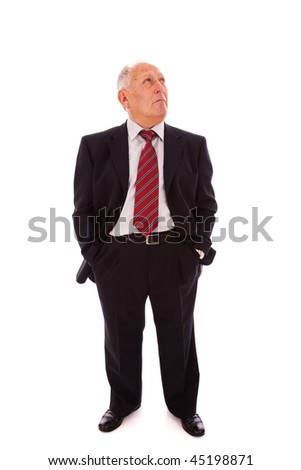 Senior businessman looking to the copy space(isolated on white)