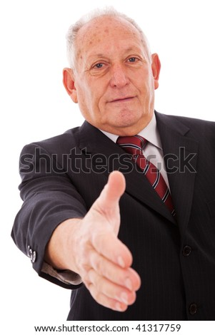 senior businessman making a deal with you (isolated on white) - stock photo