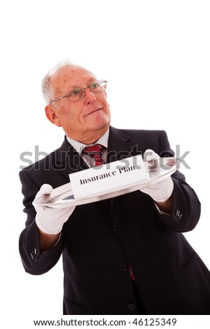 Senior businessman offering you the best solution for a insurance plan - stock photo