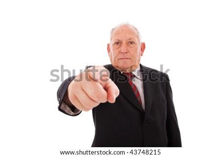 senior businessman pointing to you - stock photo