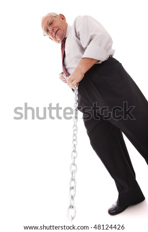 senior businessman pushing a chain (isolated on white)