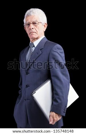 Senior businessman with his laptop - stock photo
