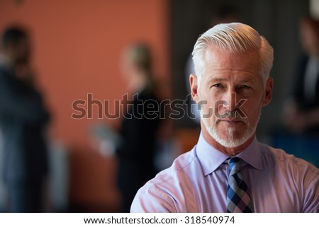 senior businessman with his team at office. business people group - stock photo