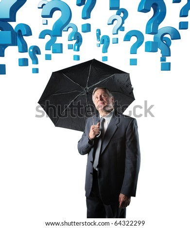 senior businessman with umbrella and 3d question mark - stock photo