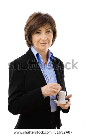 Senior businesswoman drinking coffe, isolated on white background.