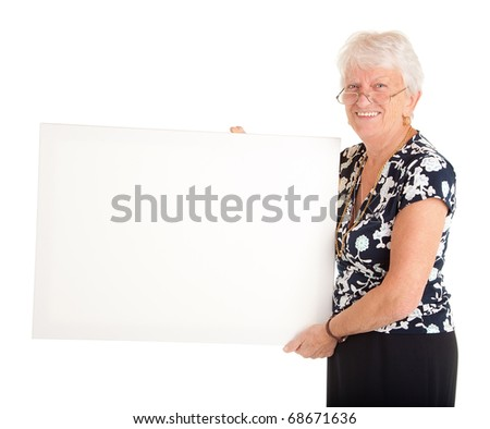 Senior Businesswoman Holding a Blank Sign - stock photo