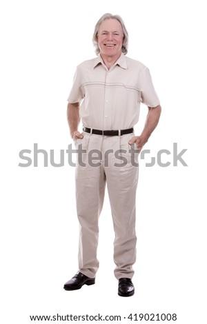 senior caucasian causual posing on white isolated background - stock photo